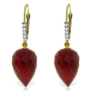 EARRING WITH DROP BRIOLETTE RUBIES & DIAMONDS